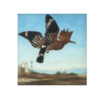 16 • A Hoopoe Flying above an Oriental Landscape