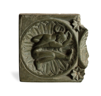 81 A Green Chlorite Fragment of a Relief Showing a Man in a Yogic Posture