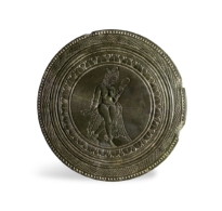 95 A Circular Green Chlorite Plaque Carved with a Goddess