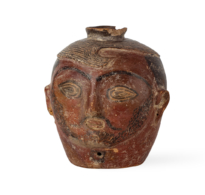 112 Soghdian Painted clay drinking vessel in the form of a male head