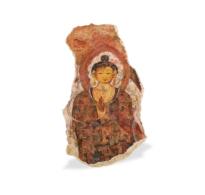 115 Stucco Fragment showing the Buddha Teaching