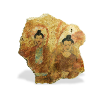119 Stucco Fragment showing Two Seated Bodhisattvas