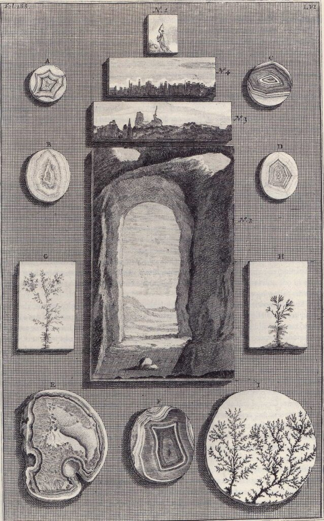 'Nos. 3 and 4. show two outstanding pieces of so-called Nature stone, which are easily the finest ones among the stones in my possession; they come mostly from Italy and….those who have never seen them will not believe them; one will see in them deserts, mountains, rivers, ruins, cities, cloudy skies, and other rare sights.'