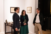 Damian Hoare, Ann Corne and Simon Peers at The Natural World exhibition, Oliver Hoare Ltd