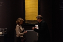 Simon Peers talking to Frieze week visitors at The Natural World exhibition, Oliver Hoare Ltd