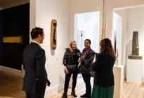 Damian Hoare and Ann Corne talking to Frieze week visitors at The Natural World exhibition, Oliver Hoare Ltd