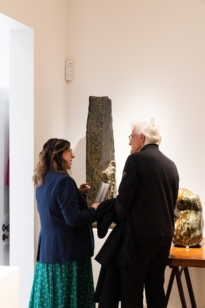 Ann Corne talking to Frieze week visitors at The Natural World exhibition, Oliver Hoare Ltd
