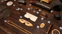 Close up of objects on display at The Natural World exhibition, Oliver Hoare Ltd